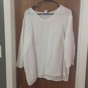 Tops - White linen top